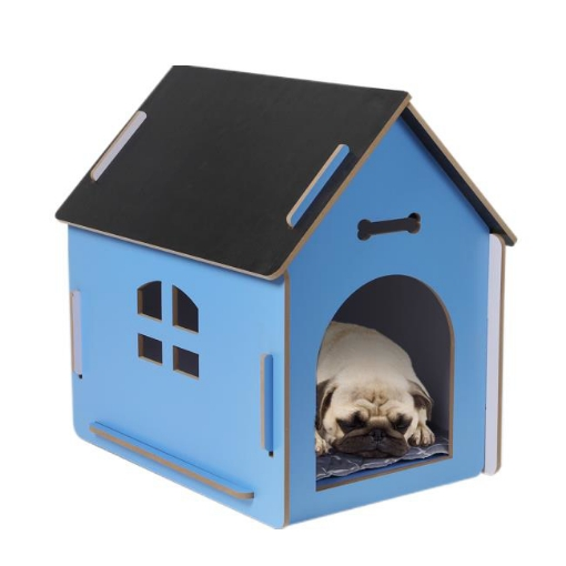 Picture of Wooden Dog House Pet Kennel Timber Indoor Cabin Medium Blue M   Free Delivery