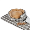 Picture of PaWz Pet Bed Set Dog Cat Quilted Blanket Squeaky Toy Calming Warm Soft Nest Checkered M | Free Delivery
