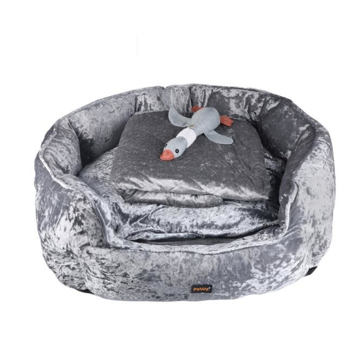 Picture of PaWz Pet Bed Set Dog Cat Quilted Blanket Squeaky Toy Calming Warm Soft Nest Grey M   Free Delivery