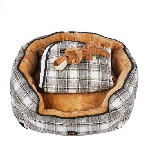 Picture of PaWz Pet Bed Set Dog Cat Quilted Blanket Squeaky Toy Calming Warm Soft Nest Checkered XL   Free Delivery