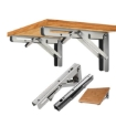 """Picture of 2Pcs 20"""" Folding Table Bracket Stainless Steel Triangle 150KG Wall Shelf Bench 