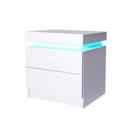 Picture of Levede Bedside Tables Drawers RGB LED Storage Cabinet High Gloss Nightstand   Free Delivery