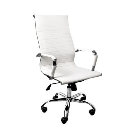 Picture of Office Chair Gaming Chair Home Work Study PU Mat Seat High-Back Computer White   Free Delivery