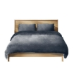 Picture of Luxury Flannel Quilt Cover with Pillowcase Dark Grey Queen | Free Delivery