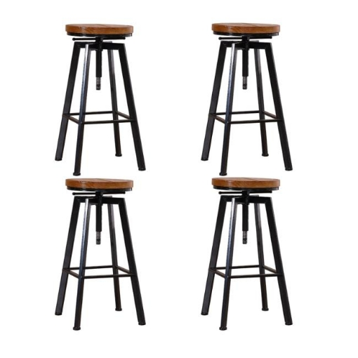 Picture of 4x Levede Industrial Bar Stools Kitchen Stool Wooden Barstools Swivel Vintage   Free Delivery