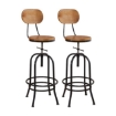 Picture of 2x Levede Industrial Bar Stools Kitchen Stool Wooden Barstools Swivel Vintage | Free Delivery