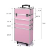 Picture of Makeup Case Professional Makeup Organiser 7 in 1 Trolley Silver Pink | Free Delivery