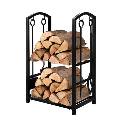 Picture of Traderight Firewood Rack 4 Fireplace Tools Log Wood Steel Large Holder Storage | Free Delivery