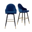 Picture of Levede 2x Bar Stools Stool Kitchen Chairs Swivel Velvet Barstools Vintage Blue | Free Delivery