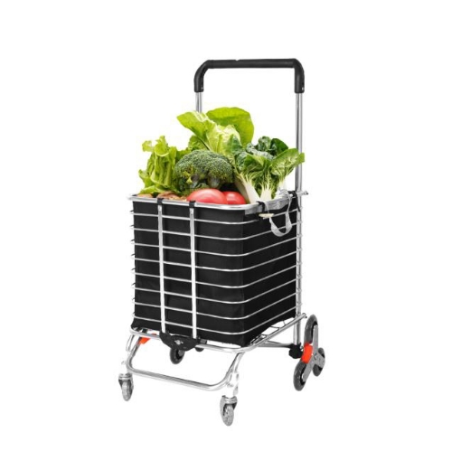 Picture of Foldable Shopping Cart Trolley Basket Luggage Grocery Portable Black 40L w/Wheel   Free Delivery