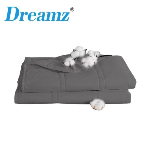 Picture of Dreamz Weighted Blanket Cotton Heavy Gravity Adults Deep Relax Relief 9KG Grey | Free Delivery