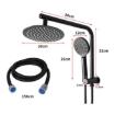 "Picture of Rain Shower Head Set Black Round Brass Taps Mixer Handheld High Pressure 8""   Free Delivery"
