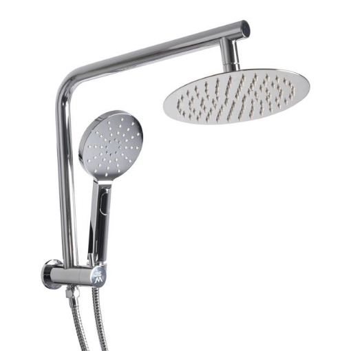 """Picture of Rain Shower Head Set Silver Round Brass Taps Mixer Handheld High Pressure 8""""   Free Delivery"""