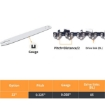 """Picture of Traderight 22"""" Chainsaw Chain Blade Saw Replaceent Spare Chains Semi Chisel 2PCS 
