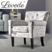 Picture of Levede Luxury Upholstered Armchair Dining Chair Single Accent Padded Fabric Sofa | Free Delivery